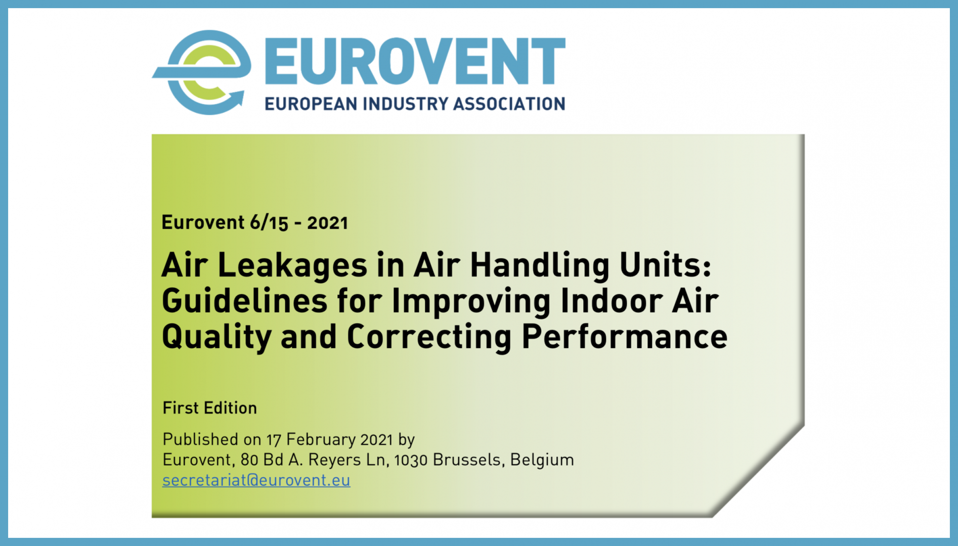 2021 - Eurovent Recommendation on air leakages published